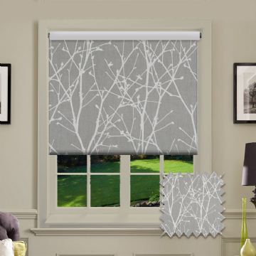 Grey Tree Patterned Roller Blind in Cedar Grey